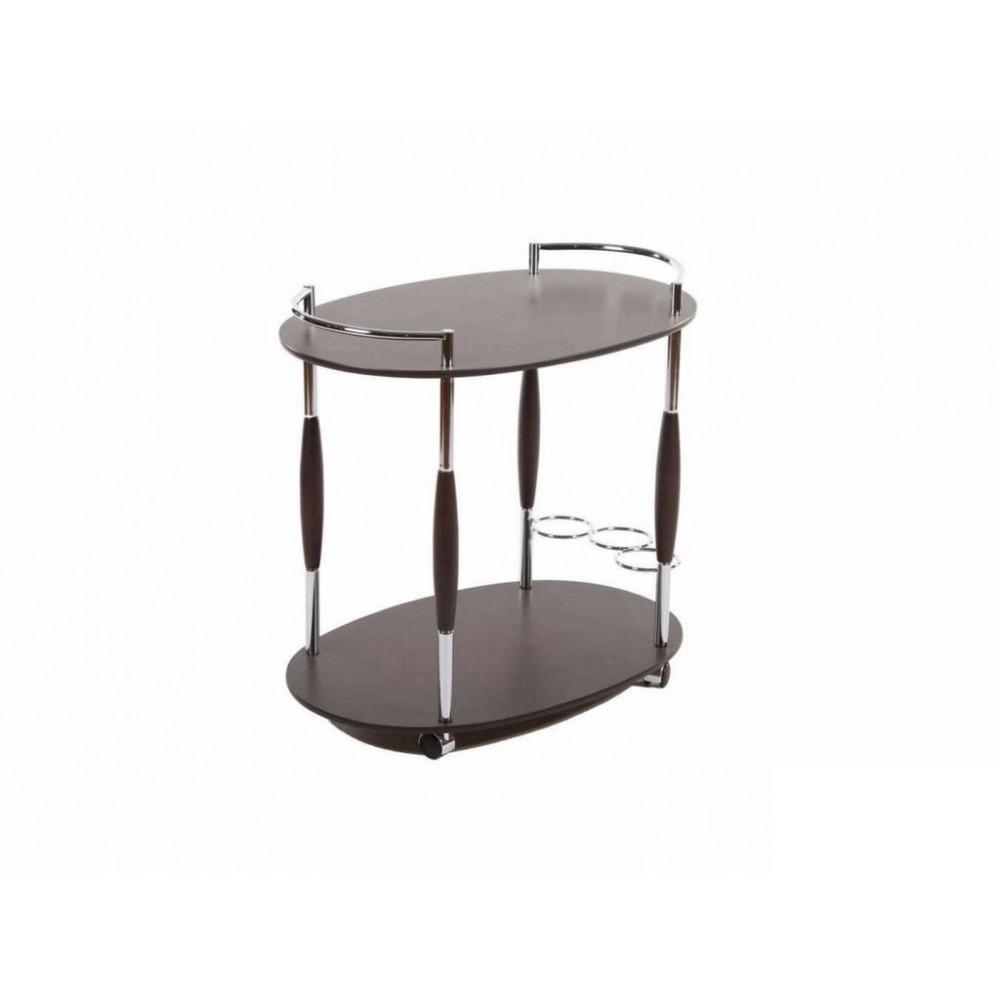 (VT-S-01) Сервировочный столик (MK-2314) (МДФ+хромированный металл) цвет: Темный орех