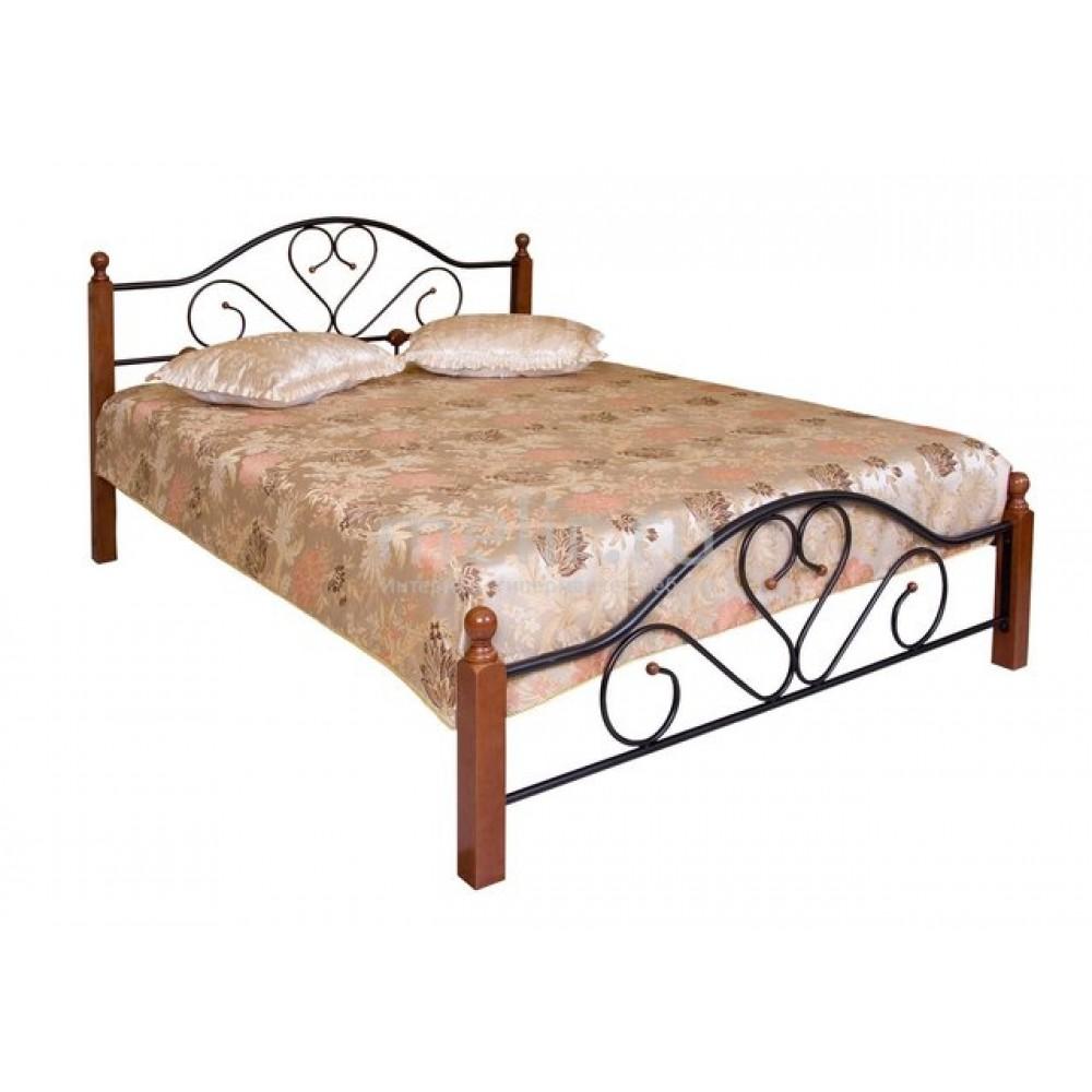 """Кровать """"FD 802"""" (решетка металлическая) 120*200см —  Rose Oak (Темная вишня) (MK-1907-RO)"""