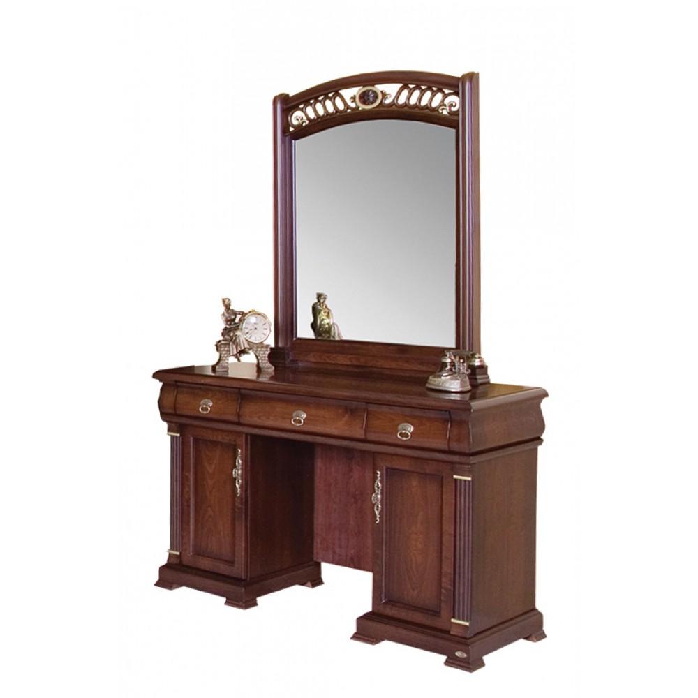 """Туалетный столик """"Нотти"""" с зеркалом+ Банкетка —  Темный орех (MK+нотти11)"""