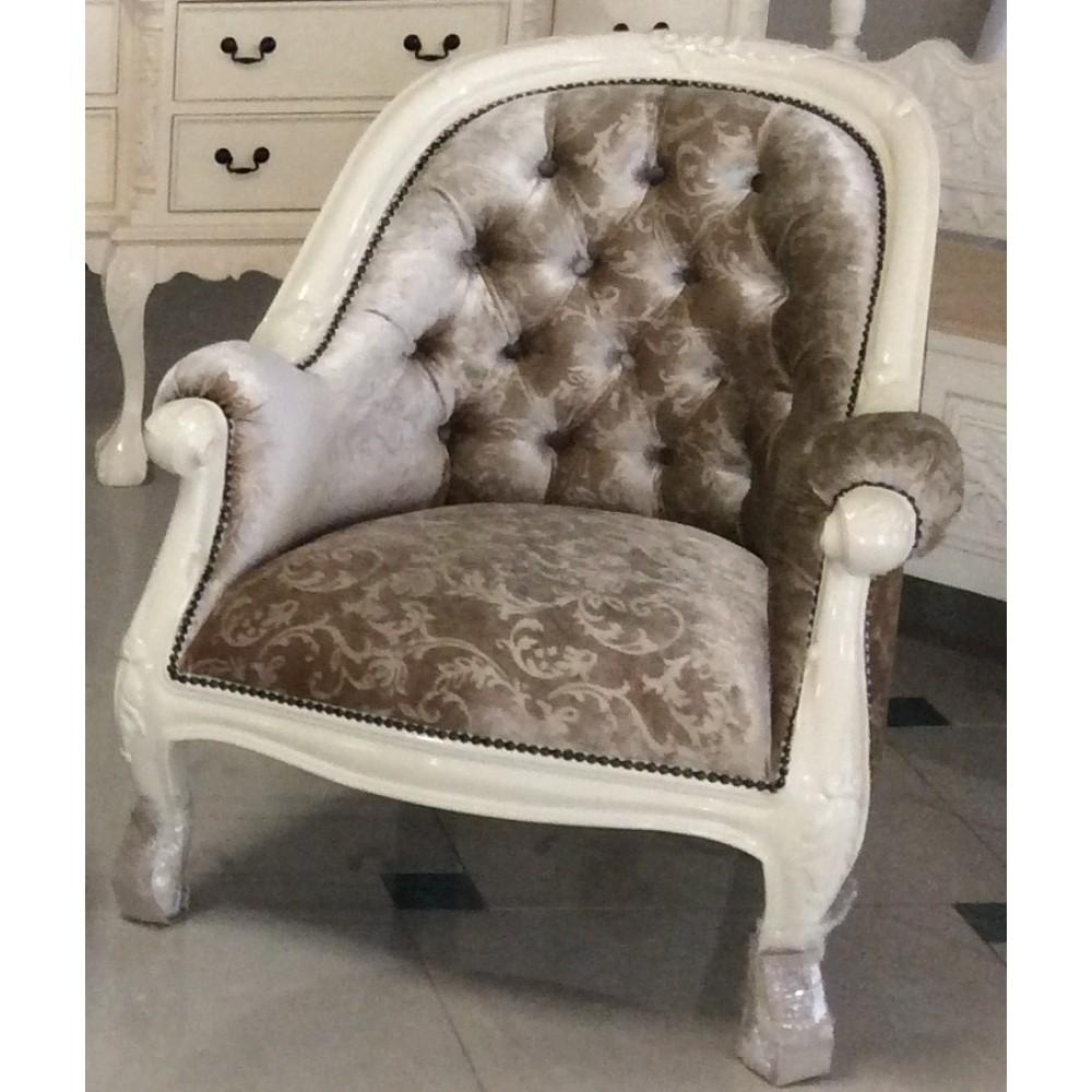 """Кресло мягкое """"Луис (Louis)"""" —  Слоновая кость (MK-2472-IV.)"""