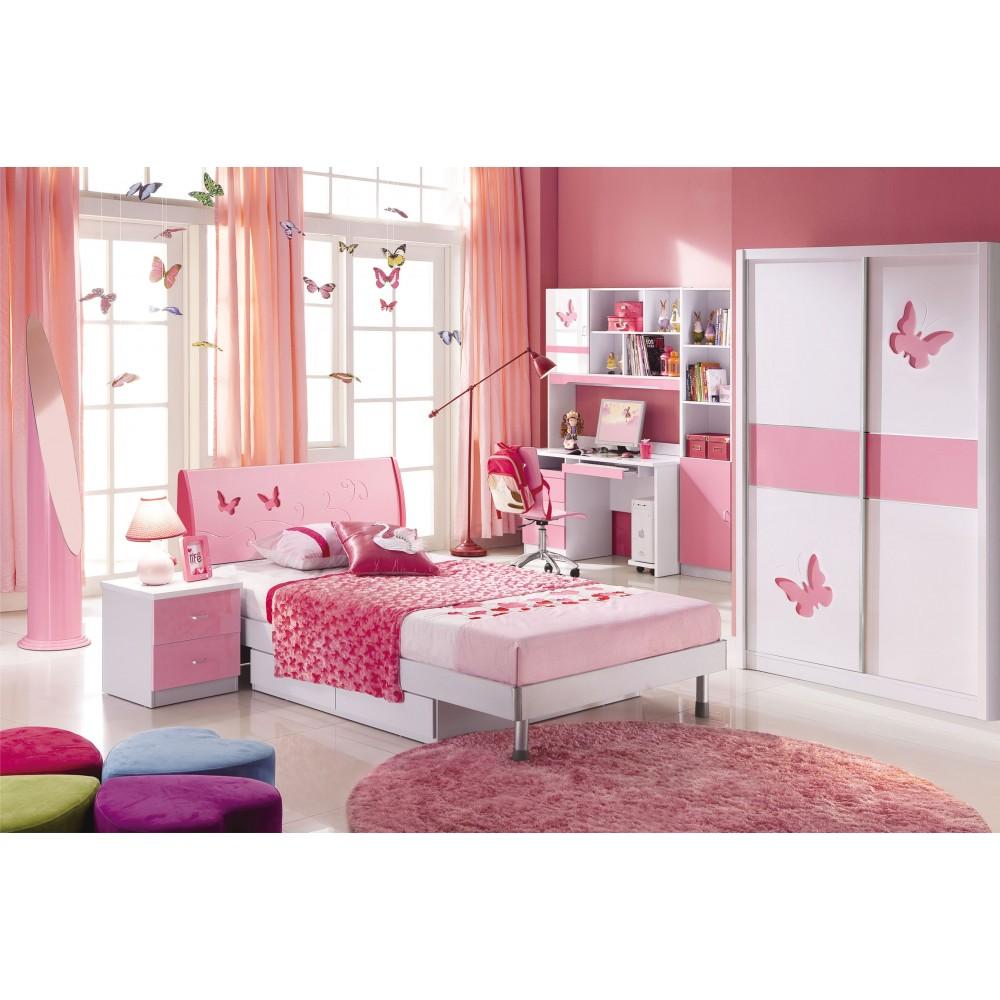 """Спальня """"Пиккола (Piccola)"""" (MK-4605-PI. Кровать детская - MK-4606-PI Тумбочка прикров - MK-4607-PI. Шкаф купе 2-х дверный) —  Розовый"""
