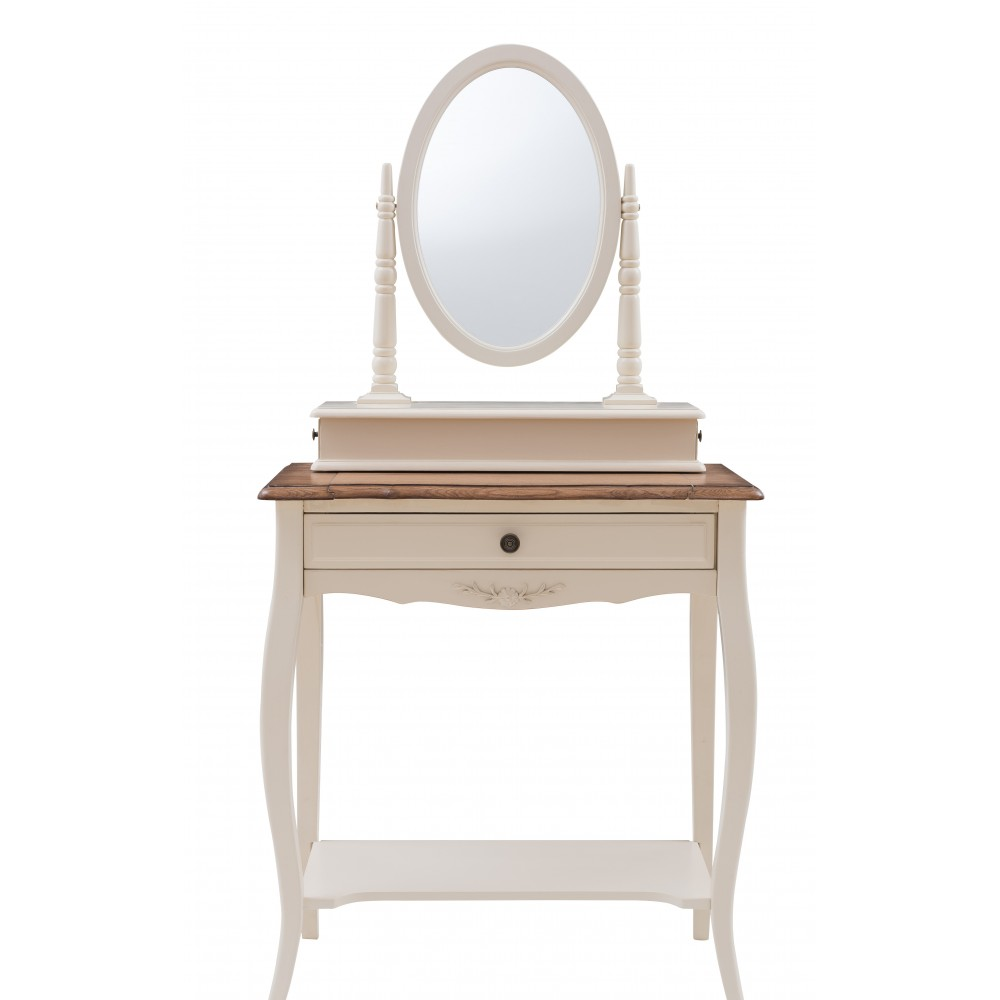 """Столик туалетный с зеркалом (овал) """"Флоранс (Florence)"""" —  Молочный/Итальянский орех (MK-5031-AWB)"""