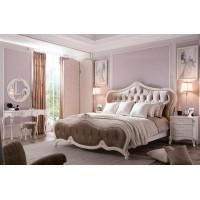 """Кровать """"Луиза (Luisa)"""" (180х200) изголовье-ткань —  Белый (с золотом) (MK-5000-WG)"""