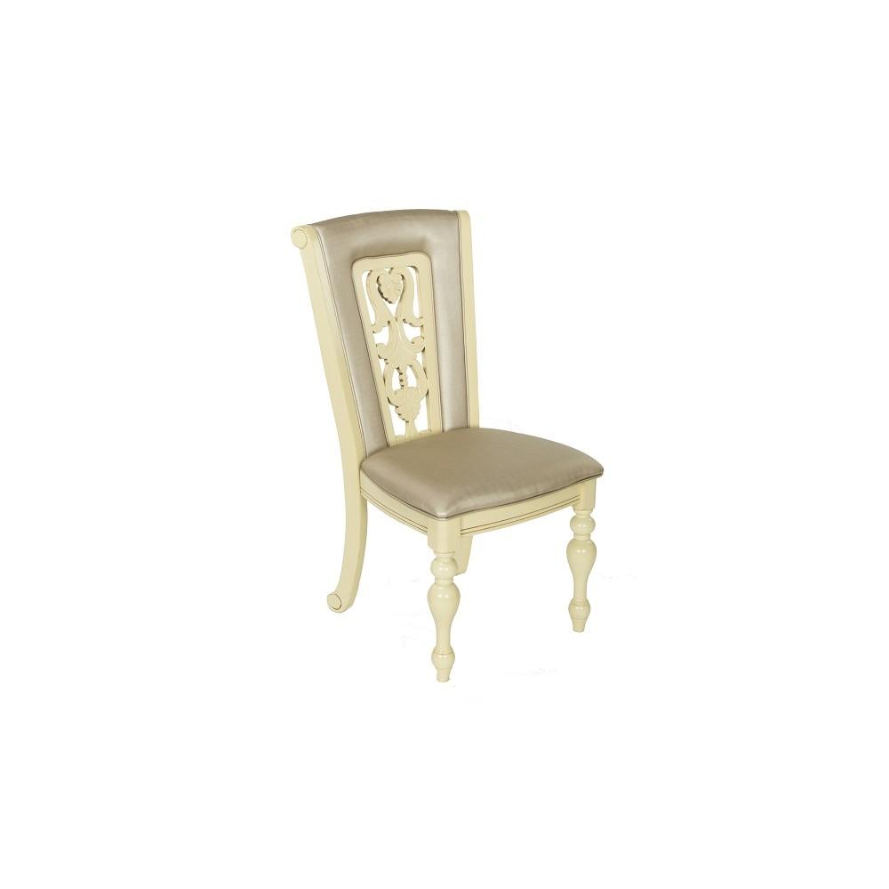 """Стул """"Луза (LUSA)"""" с мягким сиденьем и спинкой —  Ivory (Кремовый с темной патиной) (MK-4510-IV)"""