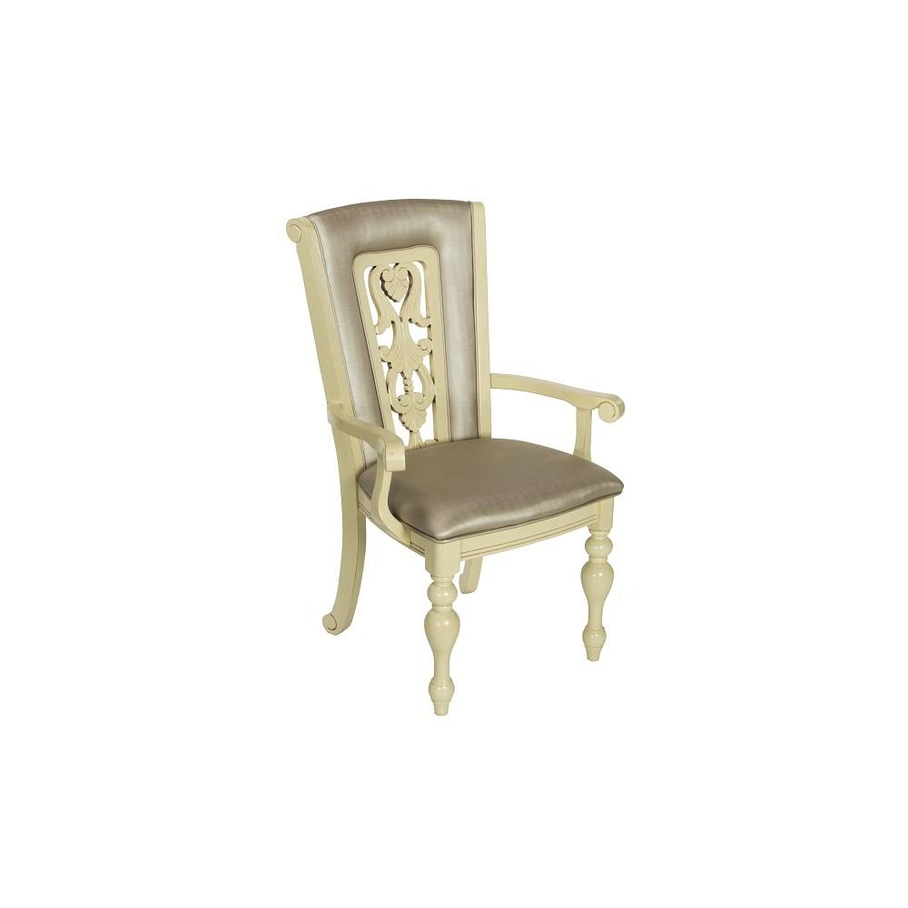 """Кресло """"Луза (LUSA)"""" с мягким сиденьем и спинкой —  Ivory (Кремовый с темной патиной) (MK-4520-IV)"""