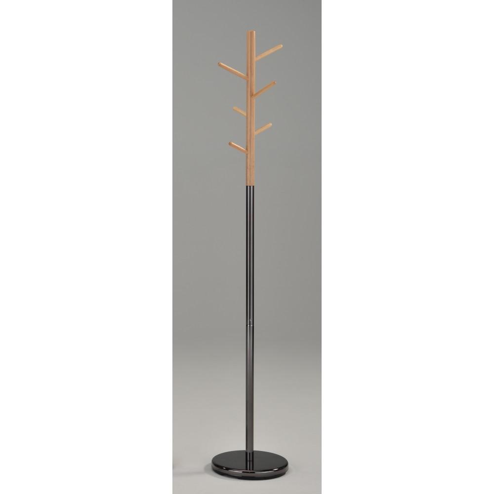 """Вешалка напольная """"MK-2371-BL"""" —  Черный/Натуральное дерево"""