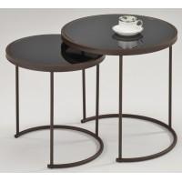 """Набор """"MK-2376-BK"""" из 2-х столиков с чёрной стек.столешницей —  Чёрный"""