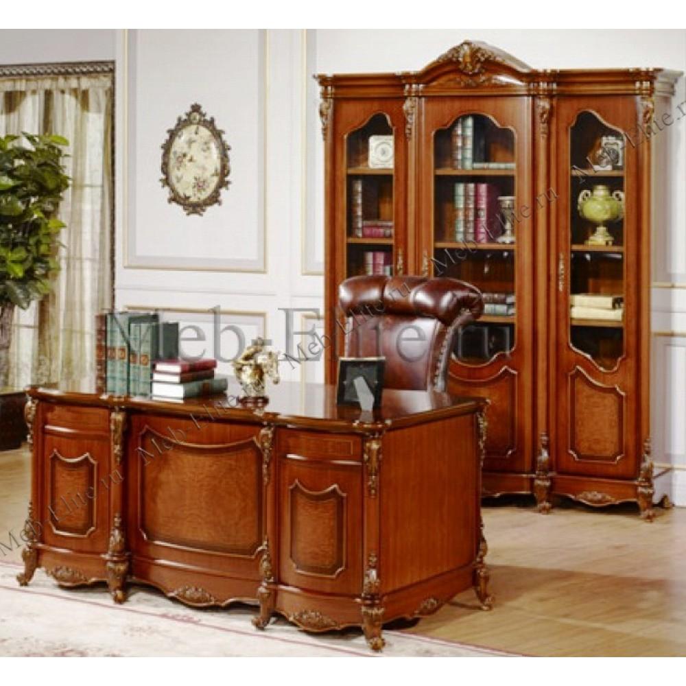 """Библиотека """"Виктория"""" (Книжный шкаф 3-х дверный - письменный стол) —  Темный орех (MK-3136)"""
