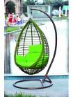 Подвисная корзина (N1037) искуственный ротанг и подушки —  Зеленый (MK-3632-GW)