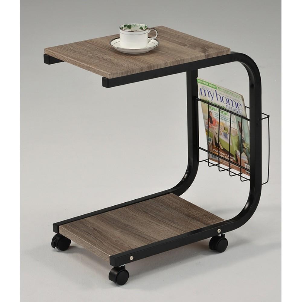 """Приставной столик """"MK-2391. (SR-1582)"""" на колесиках —  Дуб/чёрный"""