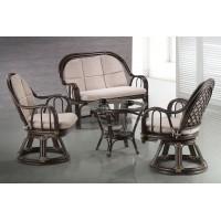 Комплект Зиния (Зиниа (Zinia)) (Софа двухместная МК-6107-BR + 2 кресла МК-6106-BR + кофейный столик МК-6108-BR)) (МК-6113-BR)