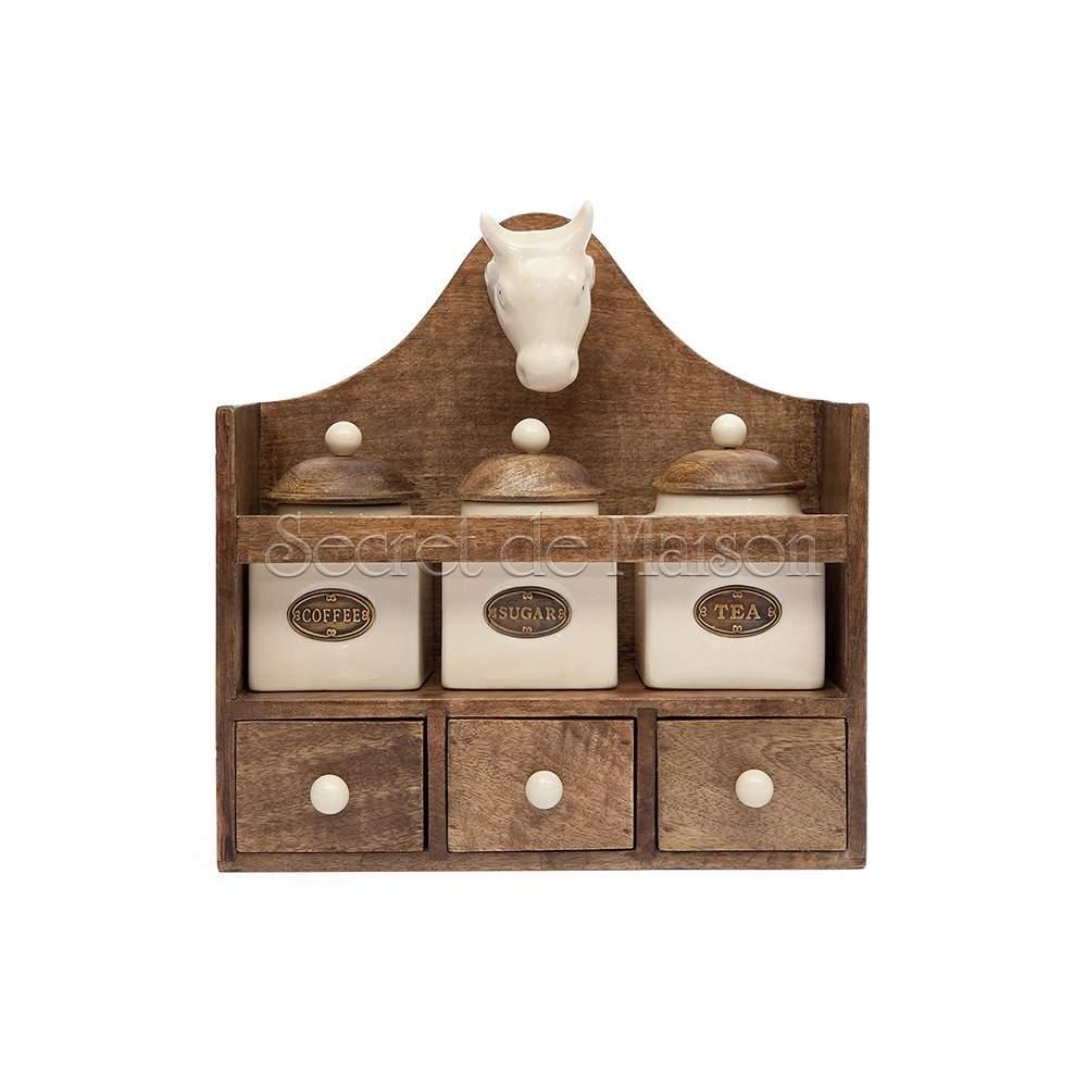 """Полка """"Коровка"""" с 3-мя банками и ящиками Secret De Maison Шату (CHATEAU) (mod. C-1757) — натуральный (natural)"""