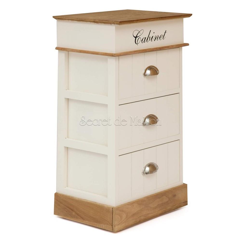 Тумба с 3 ящиками Secret De Maison Кабинет (CABINET) ( mod. HX14-120 ) — Белый/коричневый (butter white/brown)