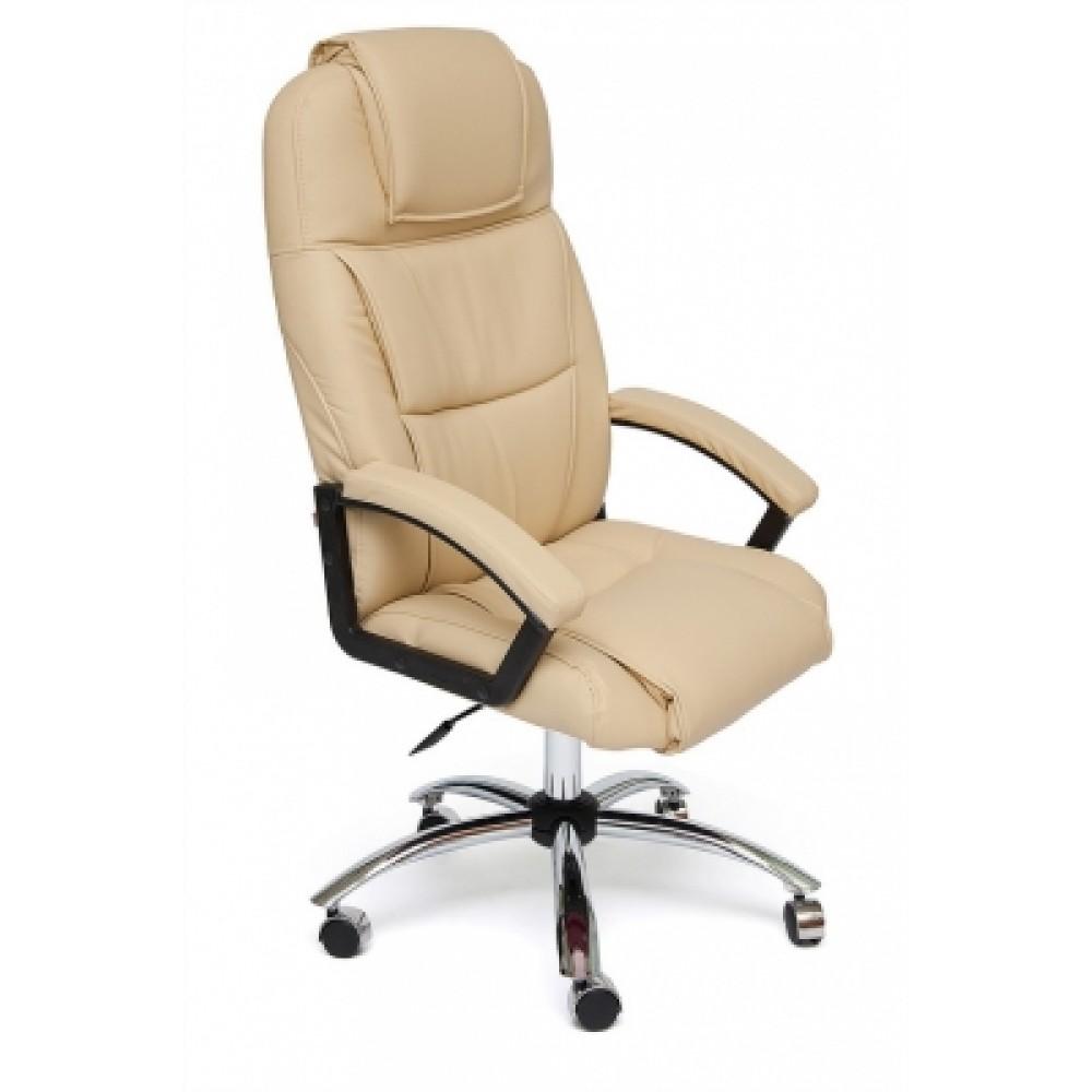 Кресло компьютерное Бергамо хром (Bergamo) — бежевый
