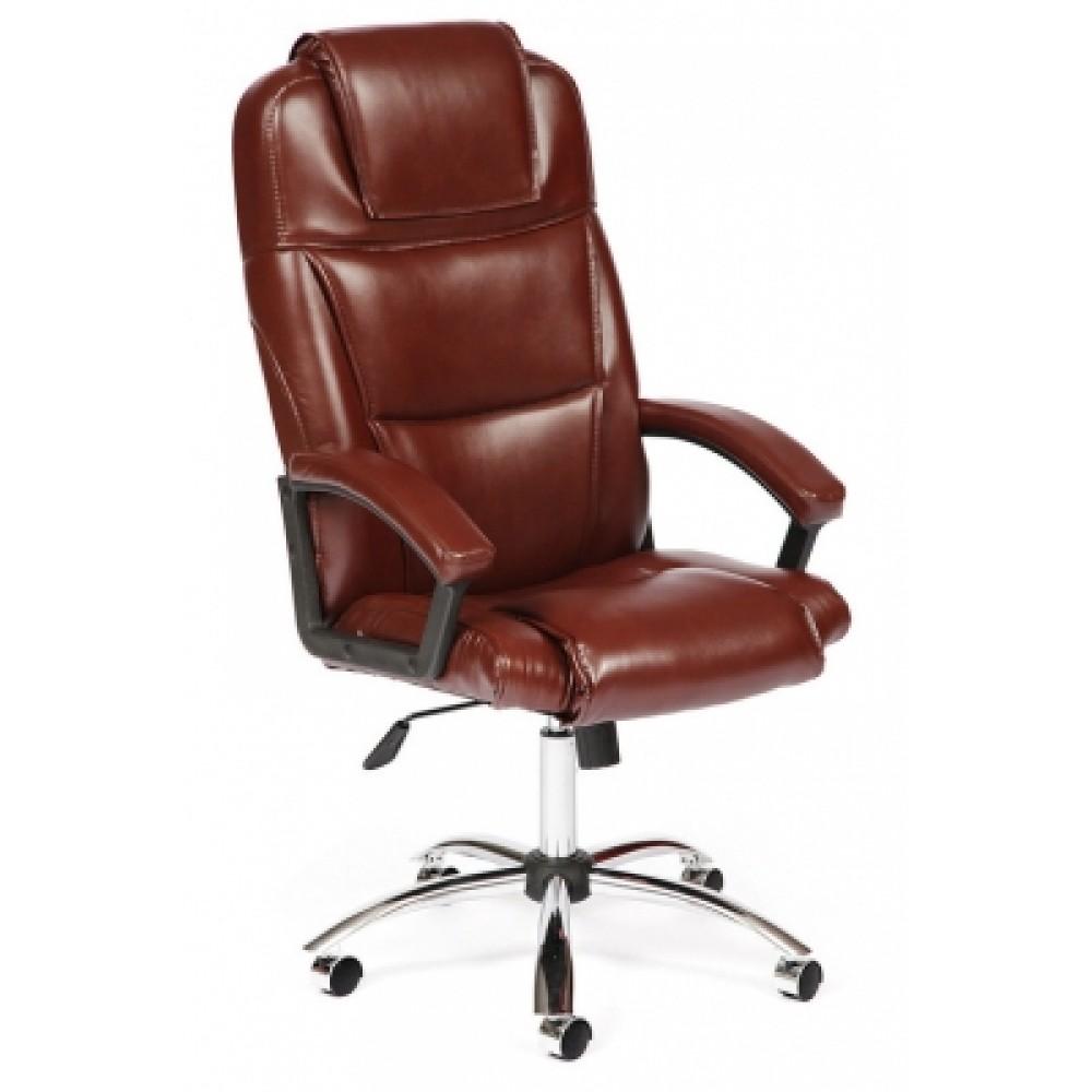 Кресло компьютерное Бергамо хром (Bergamo) — коричневый (2 TONE)