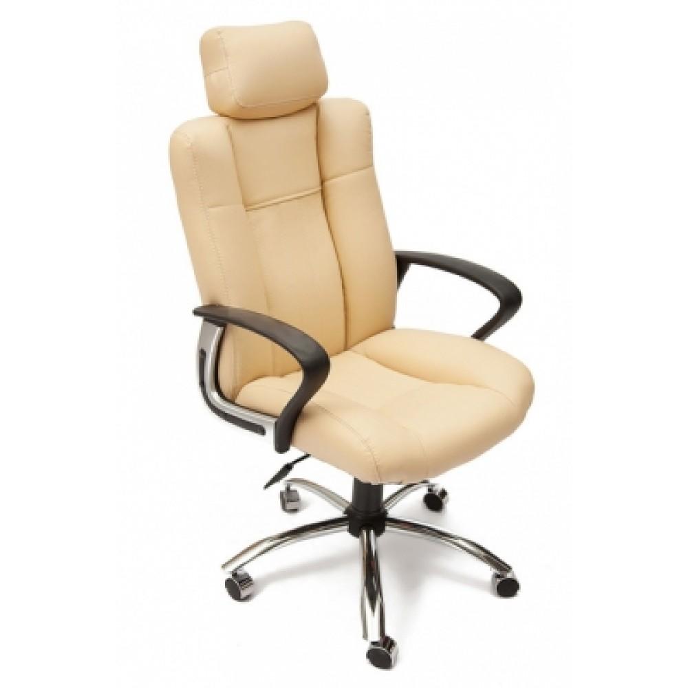 Кресло компьютерное Оксфорд (Oxford) хром — бежевый/бежевый перфорированный
