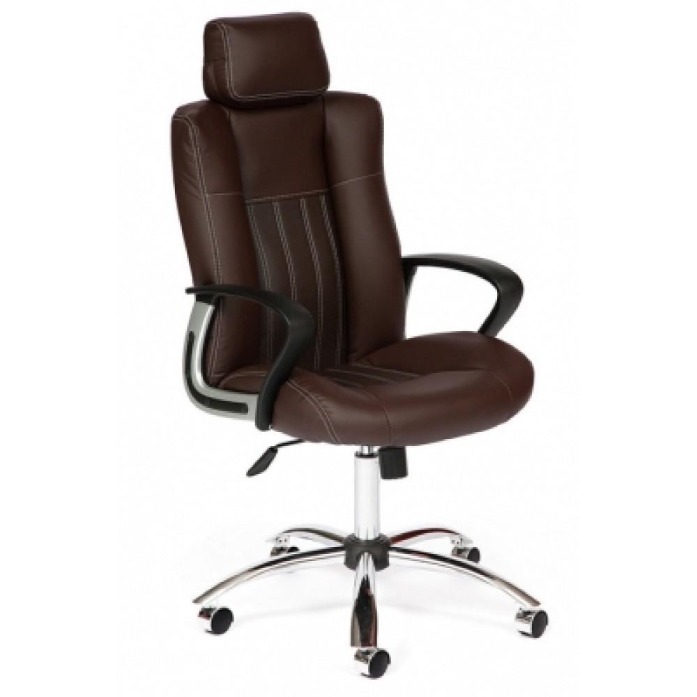 Кресло компьютерное Оксфорд (Oxford) хром — коричневый/коричневый перфорированный (2 TONE/2 TONE /06)