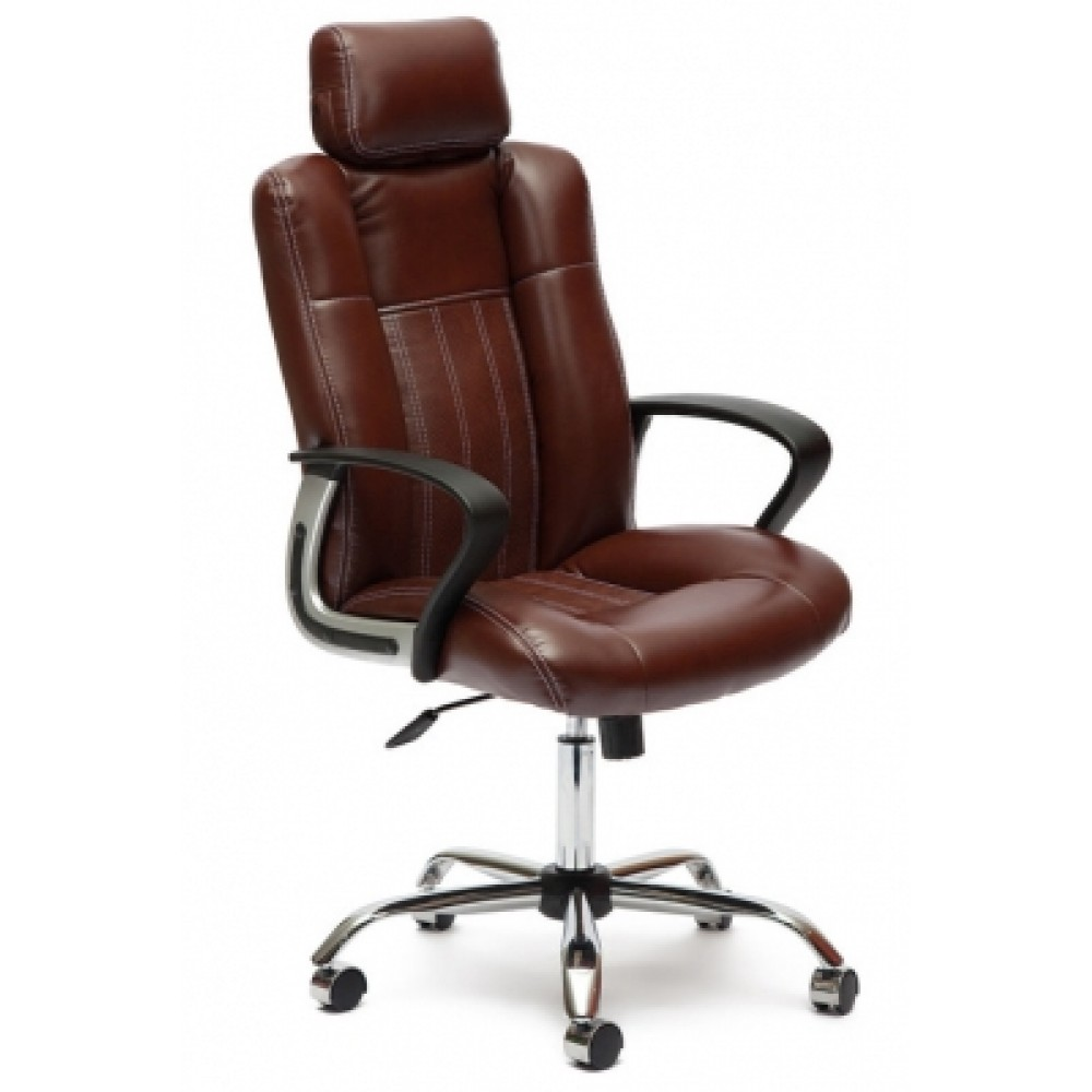 Кресло компьютерное Оксфорд (Oxford) хром — коричневый/коричневый перфорированный (36-36/36-36/06)