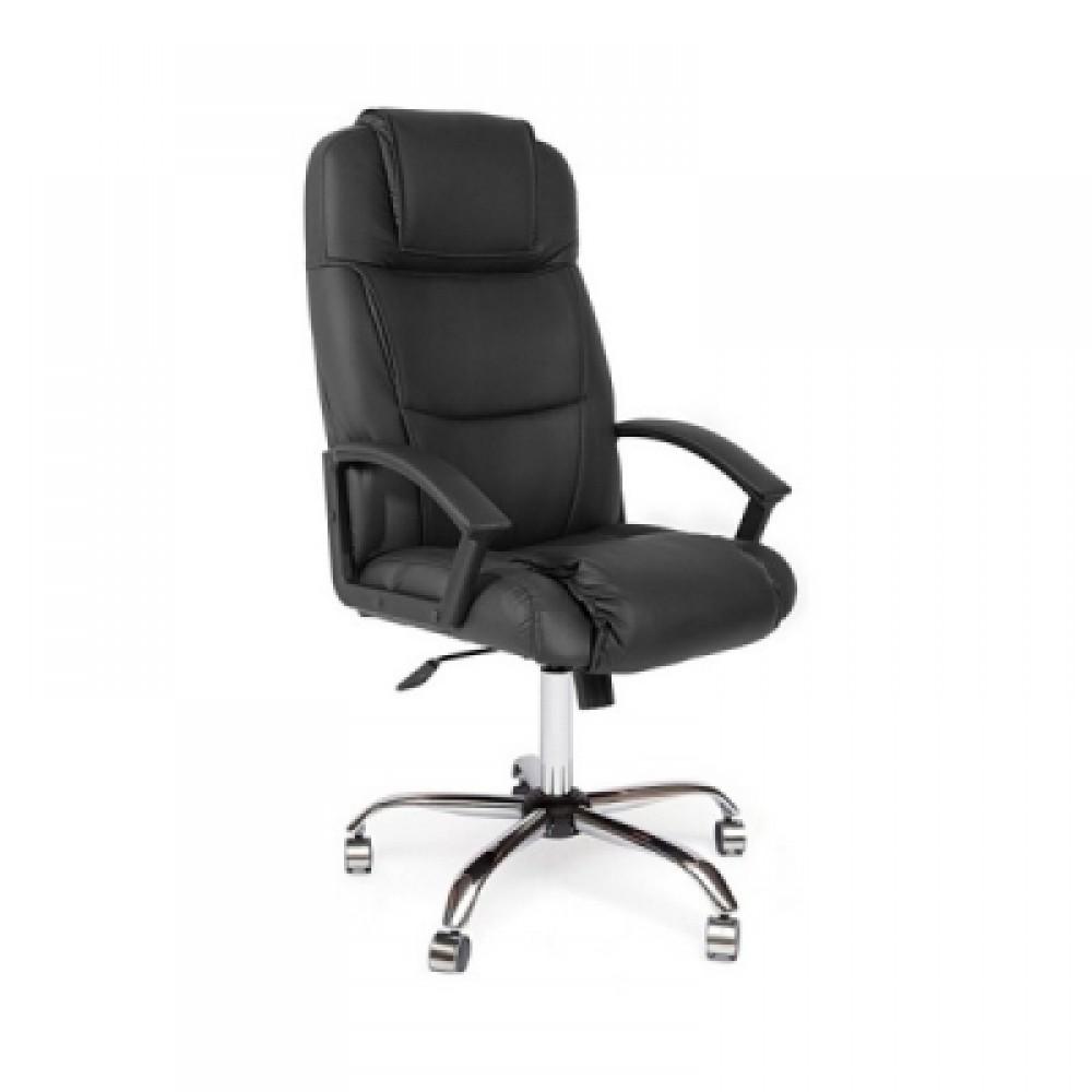 Кресло компьютерное Бергамо хром (Bergamo) — черный (36-6)