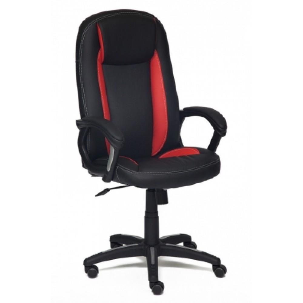 Кресло компьютерное Бриндиси (Brindisi) — черный/красный/черный перфорированный