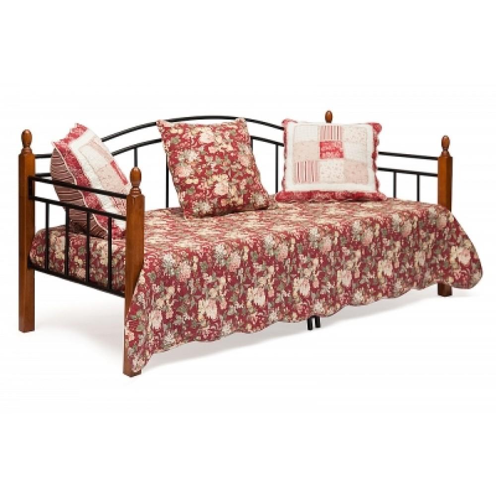 Кровать-кушетка Ландлер 200x90 (Landler) Черный/Красный дуб — Черный/Красный дуб