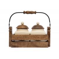 Две банки для сахара и чая в деревянном ящике Secret De Maison Шату (CHATEAU) (mod. C-3152) — натуральный (natural)