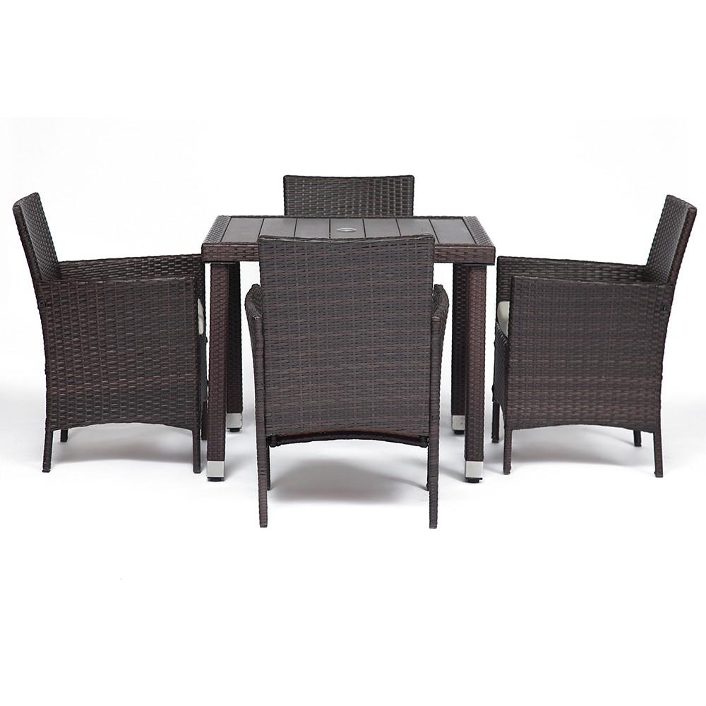 Обеденный сет (стол+4стула) (mod. 210036) — коричневый