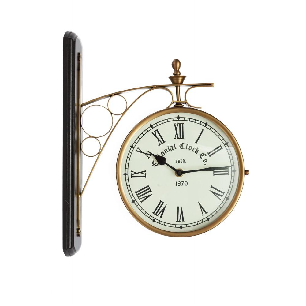 Часы Станционные с двумя циферблатами Secret De Maison ( mod 37049 ) — античная медь