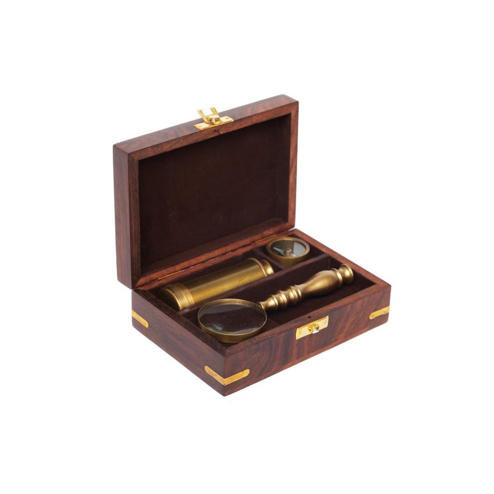Подарочный набор лупа/компас/подзорная труба в деревянной коробке Secret De Maison ( mod. 37257 ) — античная медь