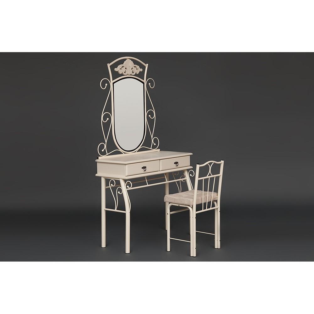 Столик туалетный Канцона (CANZONA) (столик/зеркало + стул) — white (белый)