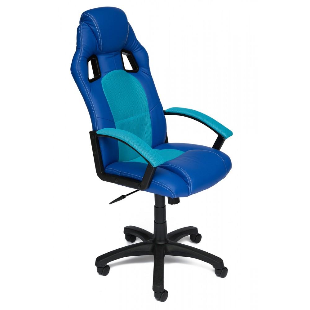 Кресло компьютерное Драйвер (Driver) — синий/бирюзовый (36-39/23)