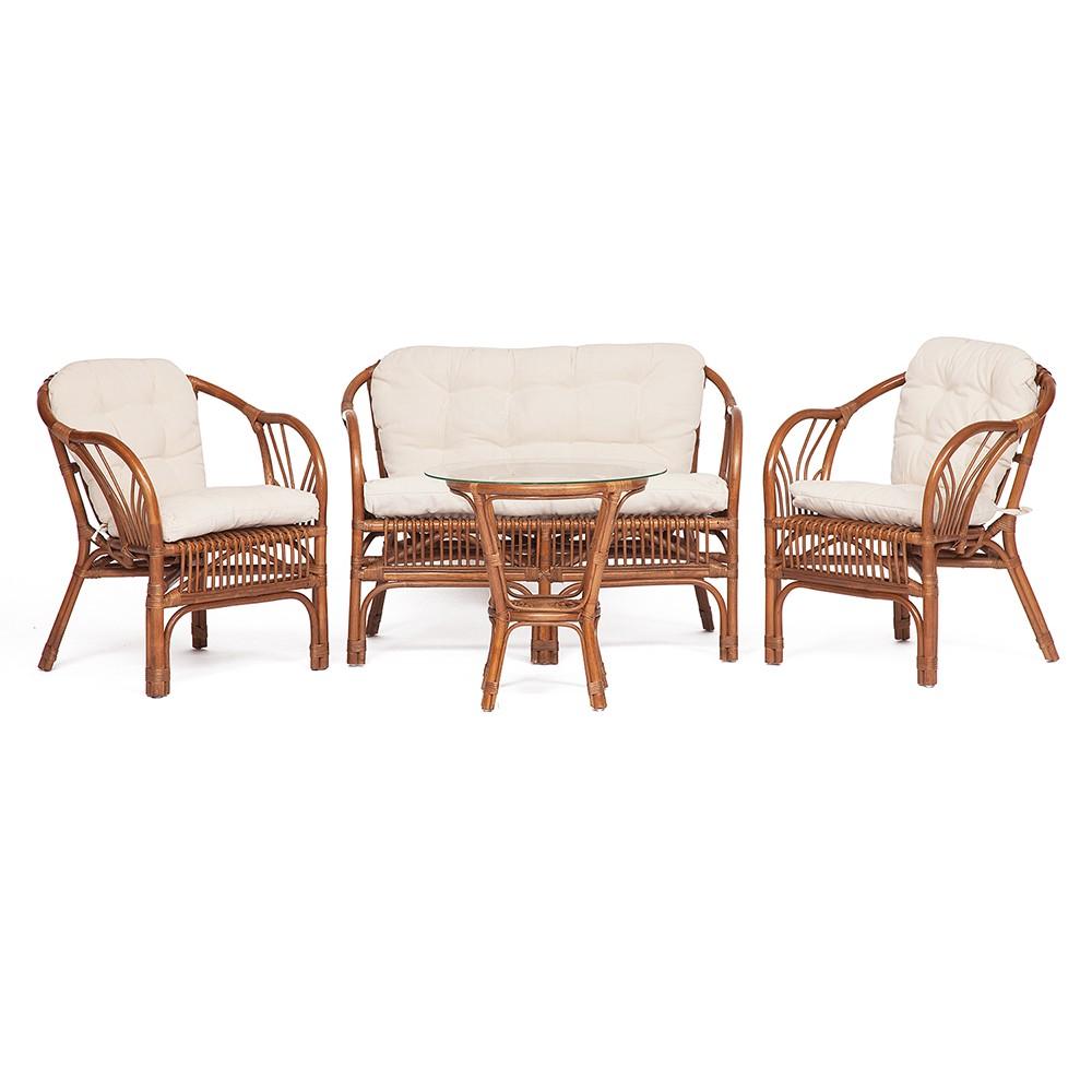 Комплект Нью Боготта (NEW BOGOTA) ( диван + 2 кресла + стол со стеклом ) — coco brown (коричневый кокос)