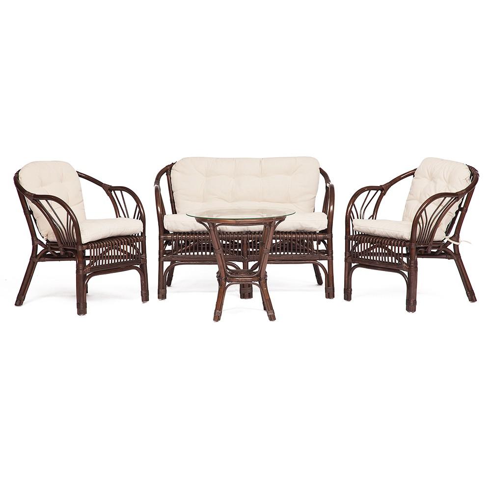 Комплект  Нью Боготта (NEW BOGOTA) ( диван + 2 кресла + стол со стеклом ) — walnut (грецкий орех)