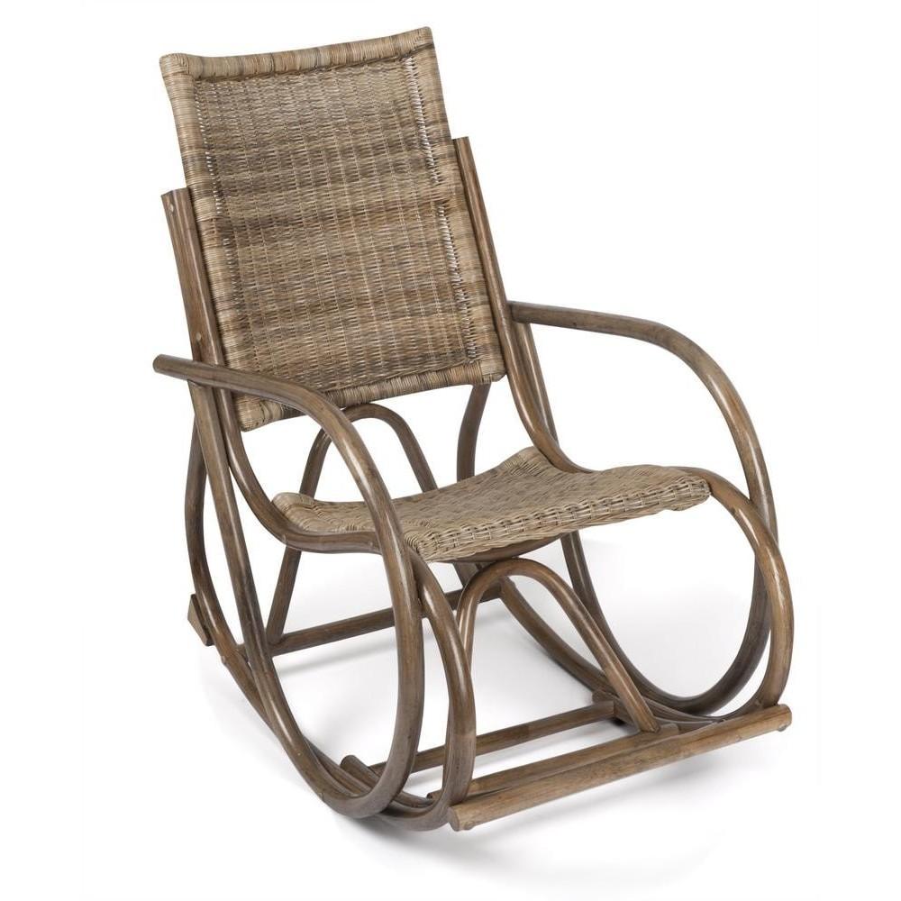 Кресло-качалка RADJA (6272) Античный серый, (узкое плетение)