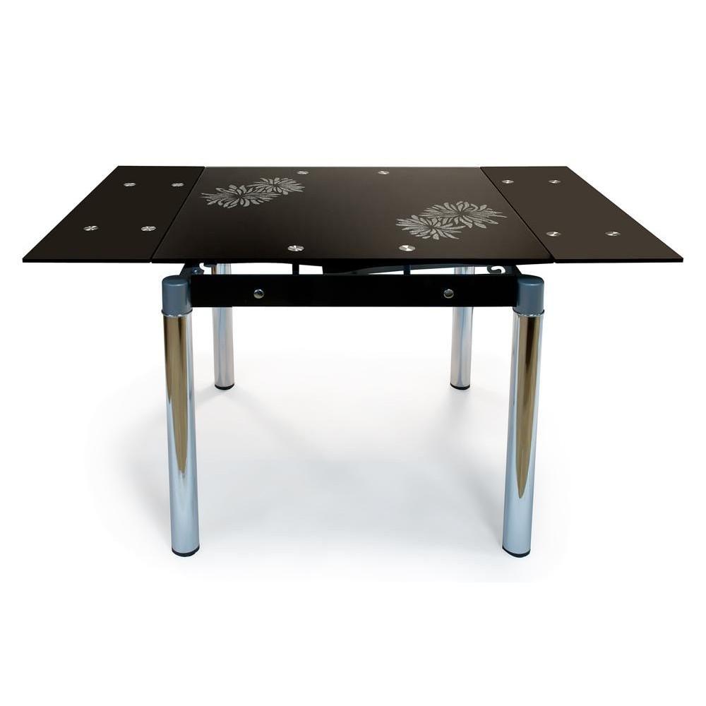 TB008-2 Стол обеденный 800(1310)х800х12, черный, рисунок