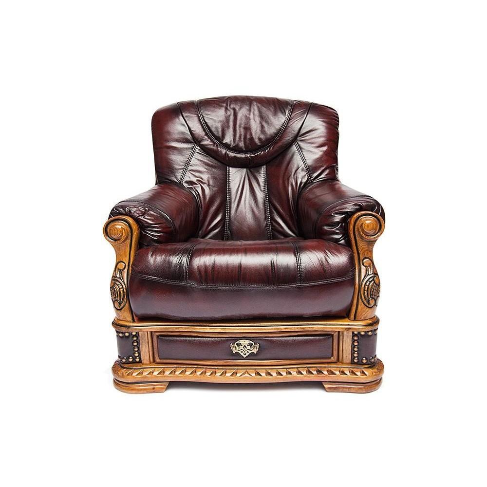 Кресло Oakman натур. кожа, бордо, # 10