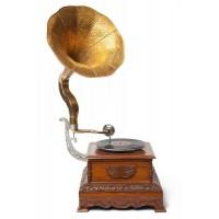 Механический граммофон # 3809 латунь, дерево, Античная медь (Antique Brass)