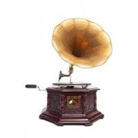 Механический граммофон # 3863 латунь, дерево, Античная медь (Antique Brass)