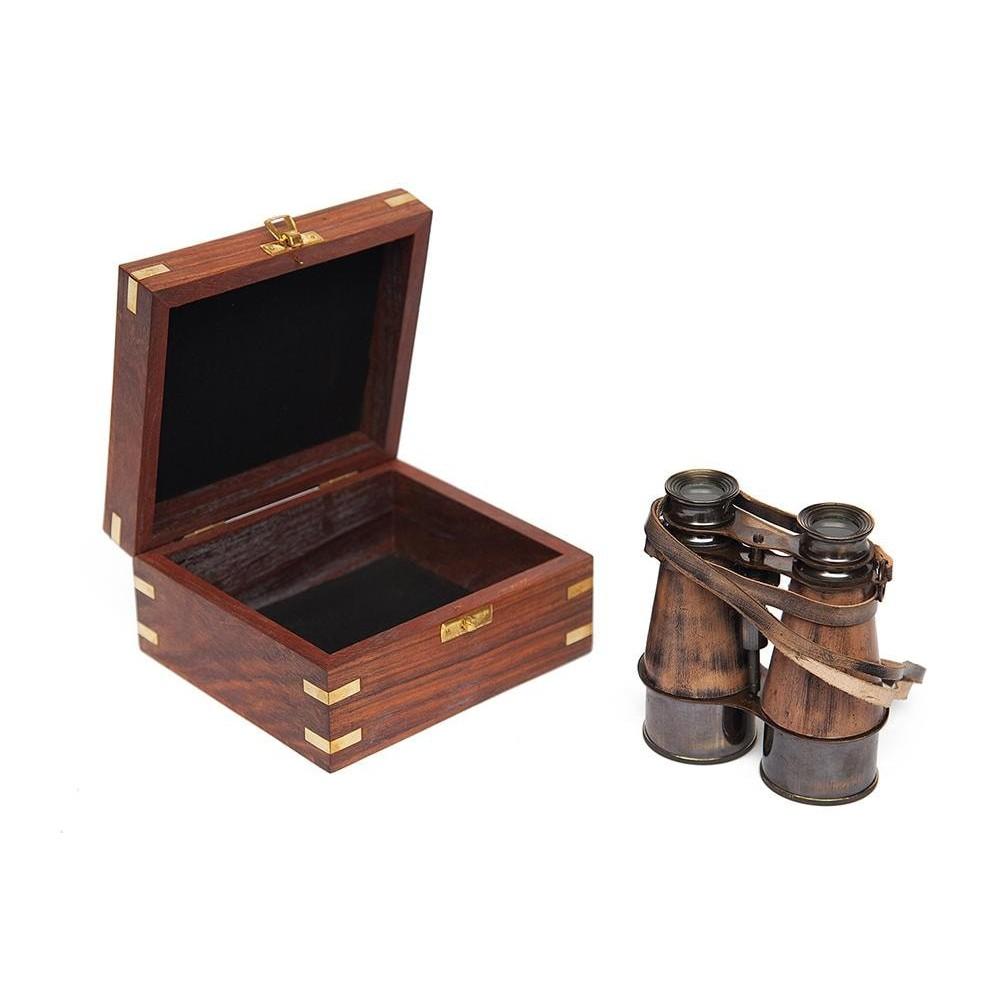 Бинокль в подарочной упаковке # 2113 B латунь/дерево, Античная медь (Antiqui Brass)