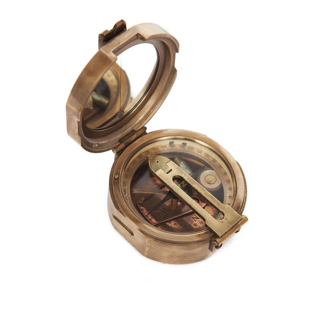 Компас Брантона в подарочной коробке # 11235 латунь/дерево, Античная медь (Antiqui Brass)