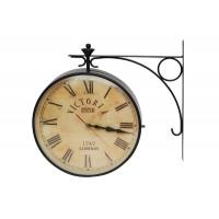 Станционные часы с двумя циферблатами # 2289 сплав стали, Черный