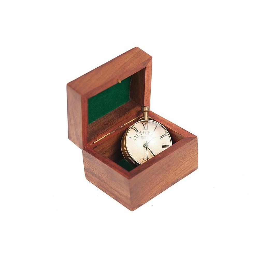 Настольные часы в подарочной упаковке # 5546 латунь/стекло, Античная медь (Antiqui Brass)