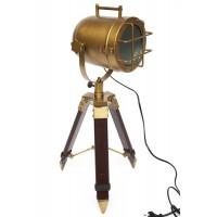 Настольная лампа-прожектор на треноге # 46158/46178 сплав алюминий/латунь, дерево, Античная медь (Antiqui Brass)