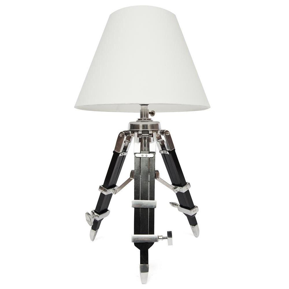 Настольная лампа на треноге # 46144/46519 сплав алюминий/латунь, дерево, абажур текстиль, никель/черный