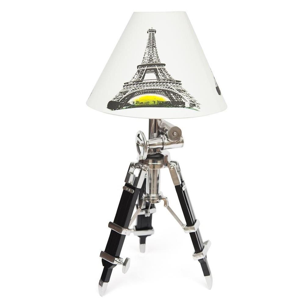 Настольная лампа на треноге # 46139/46520 сплав алюминий/латунь, дерево, абажур текстиль, никель/черный