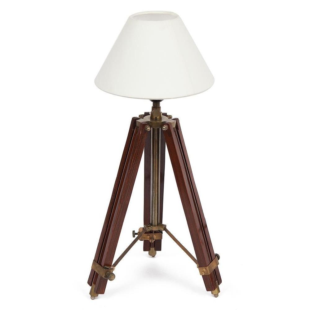 Настольная лампа на треноге # 46114 сплав алюминий/латунь, дерево, абажур текстиль, Античная медь (Antiqui Brass)