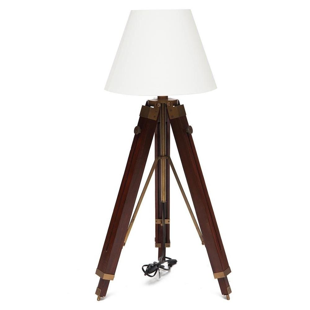 Напольная лампа на треноге # 46112 NB сплав алюминия/ палисандр, абажур текстиль, Античная медь (Antiqui Brass)