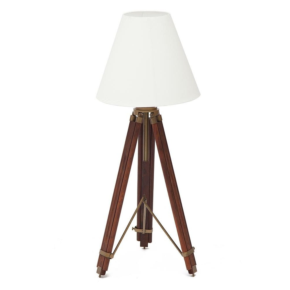 Настольная лампа на треноге # 46132 сплав алюминий/латунь, дерево, абажур текстиль, Античная медь (Antiqui Brass)