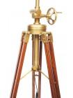 Напольная лампа на треноге # 46142 сплав алюминий/латунь, дерево, абажур текстиль, цвет: Античная медь (Antique Brass)