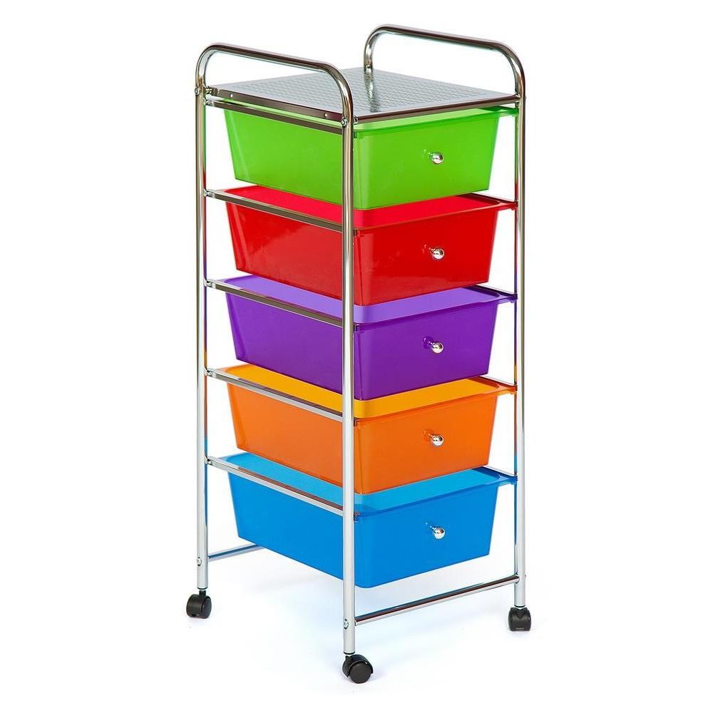Тележка для хранения G 198 Хром (Chrome), пластиковые ящики разных цветов
